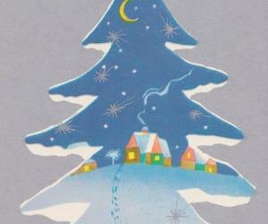 christmas tree, santa, and christmas postcards image