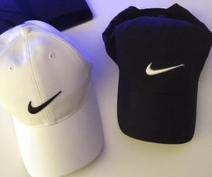 cap, nike, and white and black image