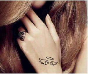 angel, Angel Wings, and hand tattoo image