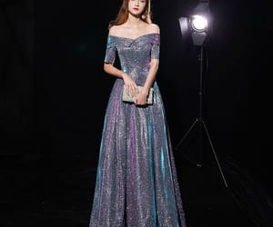 girl, formal dresses, and glitter evening dress image
