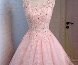 pink homecoming dress, a-line homecoming dress, and lace homecoming dress image