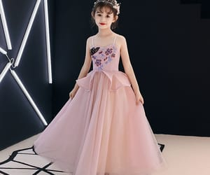 little girl dress, wedding party dresses, and pearl pink dress image