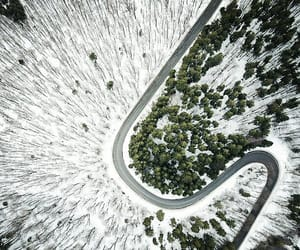 aerial view, landscape, and road image