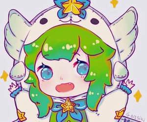 chibi, green, and kawaii image