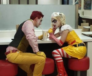 costume, couple, and fast food image