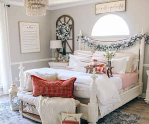 bedroom, bedroom decor, and christmas image