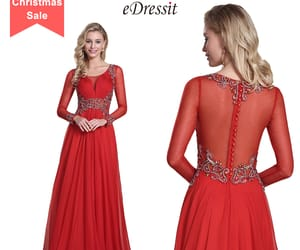 long sleeves, red evening dress, and beaded prom gown image
