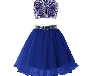 prom dress blue, two pieces prom dress, and homecoming dress backless image