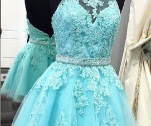 blue homecoming dresses, high neck prom dress, and homecoming dresses short image