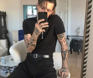 tattoo, boy, and black image