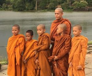 Cambodia, monks, and orange image