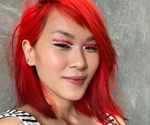 asian girls, makeup, and hair colored image