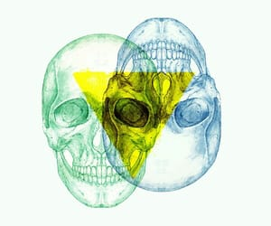 drawing, skull, and triangle image
