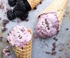 ice cream, blackberry, and food image