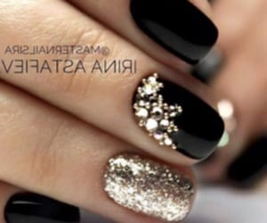 black and gold, christmas, and nails image