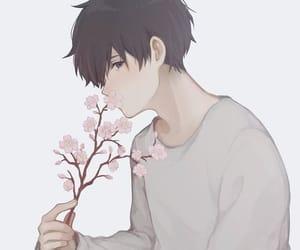 anime, rose, and anime boy image
