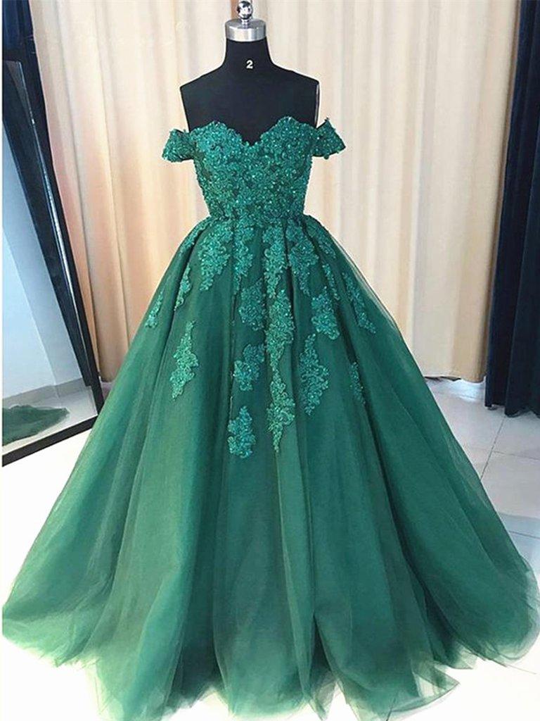 Custom Made Off Shoulder Emerald Green Lace Prom Dresses