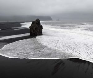 black, beach, and sea image