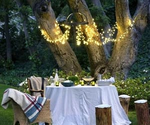 cozy, fairy lights, and garden image