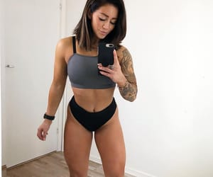 abs, fitness, and black lingerie image