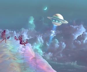 blue, moon, and rainbow image