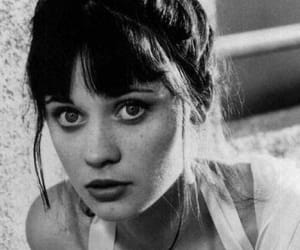 zooey deschanel, black and white, and hair image