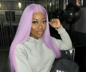 black girl, dyed hair, and frontal image