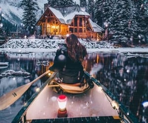 cabin, canoe, and romantic image