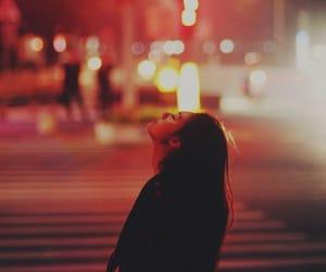 girl, light, and city image