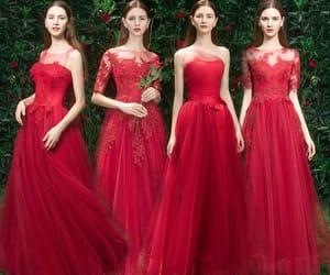 girl, red bridesmaid dress, and long dress image