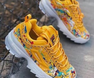 shoes, yellow, and Fila image