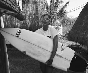 beach, surfer, and black and white image