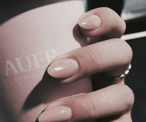 nails, pink, and coffee image