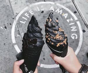 black, food, and ice cream image