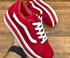 red, sneakers, and vans image