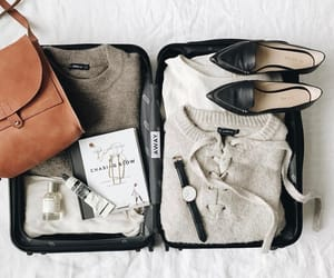 beauty, luggage, and flat lay image