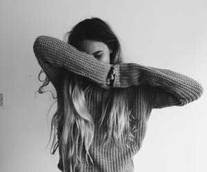 girl, black and white, and hair image