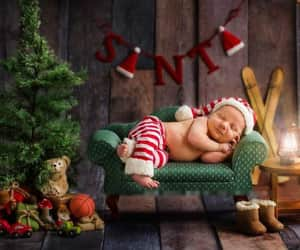 baby, santa claus, and christmas image