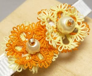 beaded, tatted, and orange and yellow image