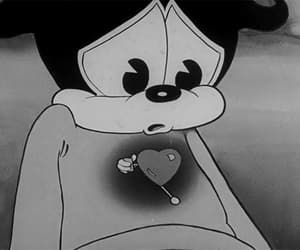 black and white, cartoon, and heart image
