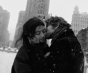 christmas, couple, and kiss image
