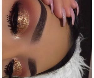 brown, gold, and make up image