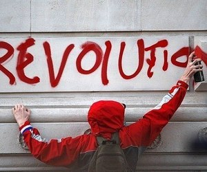 revolution, black and white, and red image