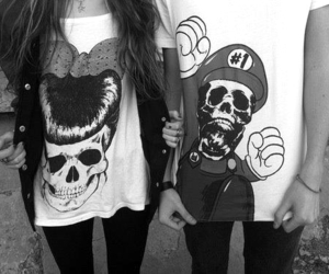 black and white, skull, and couple image