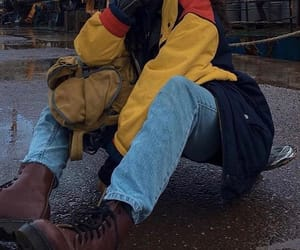 jeans, outfit, and rain image