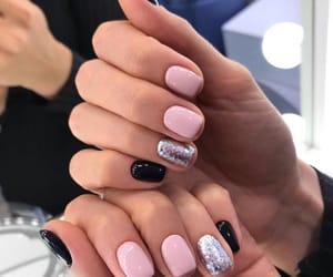 acrylic, short and cute, and pretty pink and black image