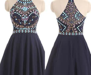 blue prom dress, prom dress short, and navy homecoming dresses image