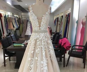 prom dress, prom dress with appliques, and v neck prom dress image