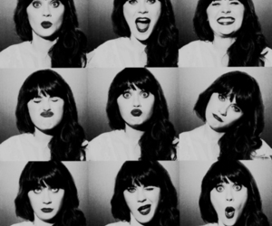 zooey deschanel, black and white, and new girl image