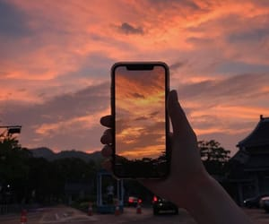 iphone, sky, and orange image
